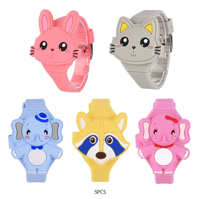 5Pcs Lovely Animal Children's Watches Girls Boys 3D Cartoon Toy Flip Silicone Watch Baby Kid Electronic Digital Wristwatches PJ