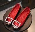 2017 новых ботинок квартир женщин Пу квадратные металлические противоскольжения бездельник Горный Хрусталь Пряжки размер женской обуви досуг мягкое дно обувь