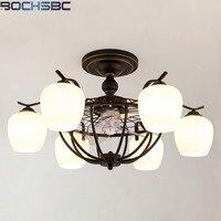 BOCHSBC Nórdicos Luzes Ventilador de Teto LED Anion E27 Preto Remoto Home Deco Luminária Sala de Estar Sala de Jantar Quarto Lâmpadas Penduradas