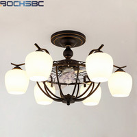 BOCHSBC Nordic LED Anion Ceiling Fan Lights E27 Black Light Fixture Remote Home Deco Living Dining Room Bedroom Hanging Lamps