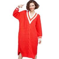 Autumn Winter Long Sweater Plus Size 2018 Korean Fashion Women V Neck Sweater Dress Side Split Twisted Oversized Jumpers Ladies