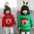2017 Outono Inverno das Crianças Teste Padrão Do Natal Veados Camisola Das Meninas Dos Meninos de Manga Longa de Algodão O-pescoço Camisola Roupas 2 Cores