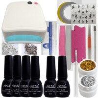 Manicure Kit Gel Nail Polish Set 36W UV Lamp Nails Cutter Pusher Gems Stickers Decal Top Base Gel Manicure Art Tools Set Kits