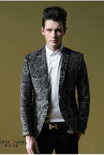 Free delivery !!! NEW 2014 Spring males's model style classic print Suits high quality single slim blazer outerwear / M-3XL