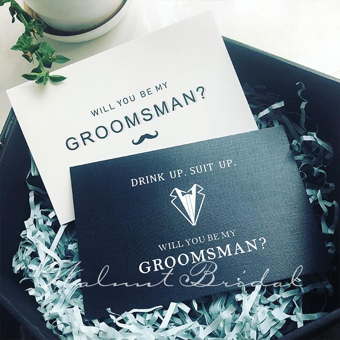 2 Styles Originality Groomsman Card Simple Style Black&White Wedding Supplies Size 9*14.6 Cm Wedding Party Invitation Cards