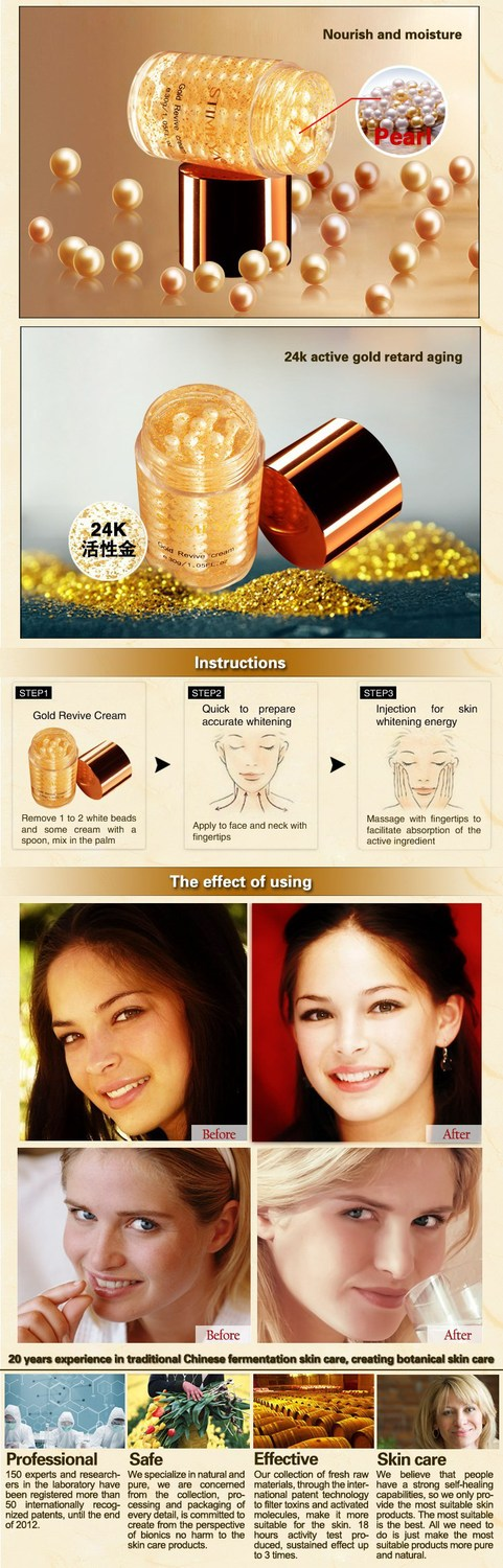 Free shipping Famous Brand 24K gold pearl face Skin Care Anti-aging whitening moisturizing Anti Wrinkle day face cream 30g 21