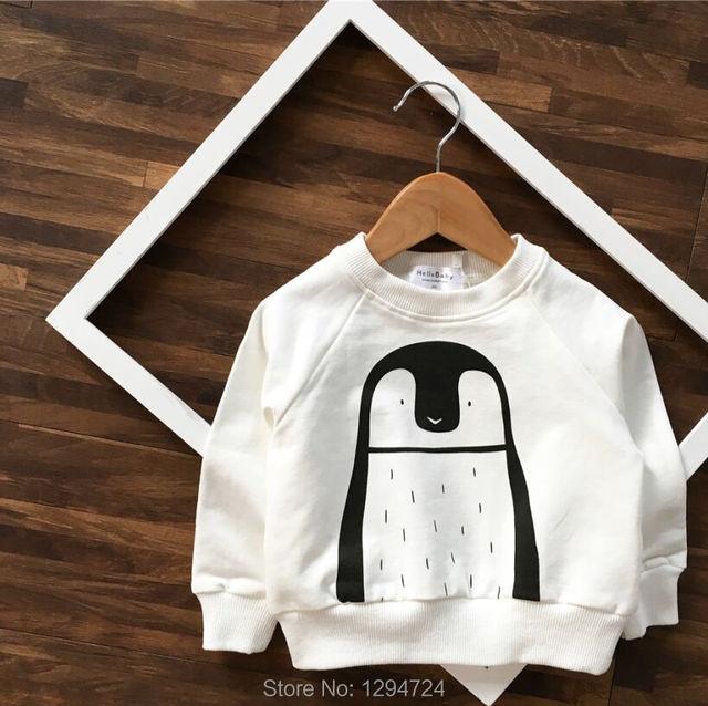 2016 otoño INS pingüino BLANCO Sudadera sudaderas con capucha para niños sudadera hoodies del bebé de la muchacha ropa vetement enfant garcon