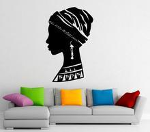 Africa African Girl Wall Decal Vinyl Stickers African Beautiful Woman Interior Home Design Wall Art Murals Bedroom Decor 2FZ4 owl beautiful wall decal african wild lion pride animals home interior design art officea3 010