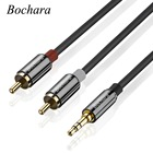 Bochara 3.5mm Stereo Jack Male to 2 RCA Male Audio Cable Foil+Braided Shielded For Speakers Amplifier 1.8m 3m 5m 10m 15m 20m