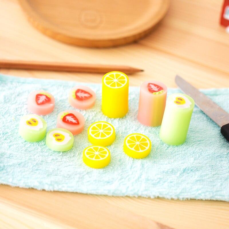 4 Pcs/Lot Sliced Fruit Eraser 2B Color Strawberry Lemon Apple Pencil Erasers Office School Supplies Gomas De Borrar A6385