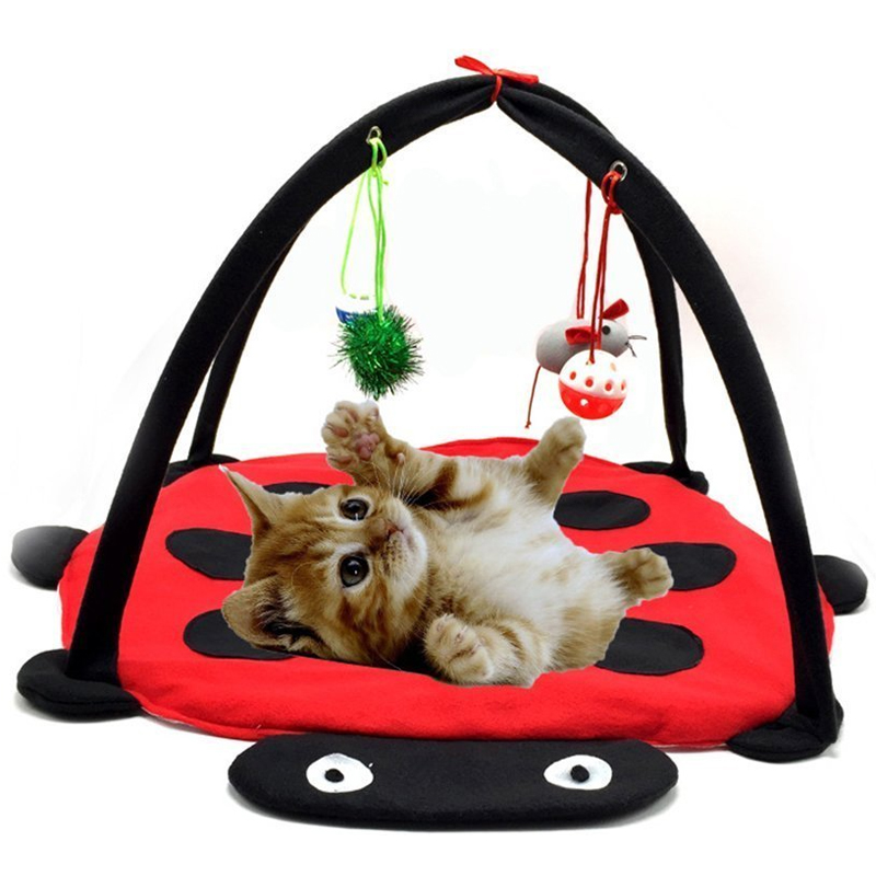 Cat Play Tent Pet Cat Bed Mobile Activity Toys Playing Bed Toys Cat Bed Pad Blanket House Pet Furniture Cat House With Ball