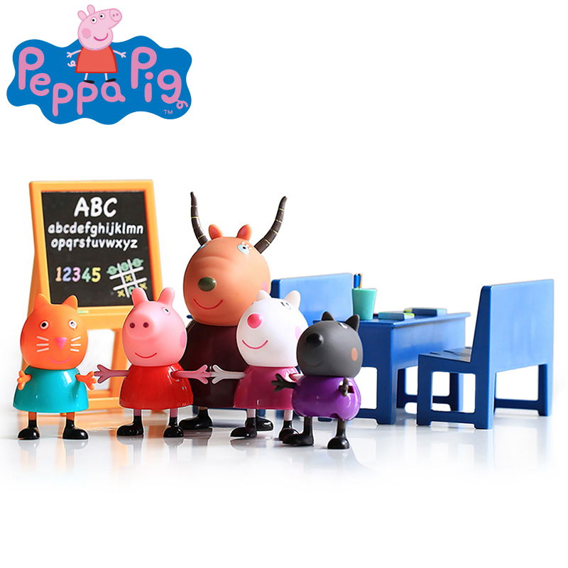 Peppa pink Pig George guinea Toys Doll Real Scene Classroom Suit PVC Action Figures Early Learning Educational Toy Gift For Kids