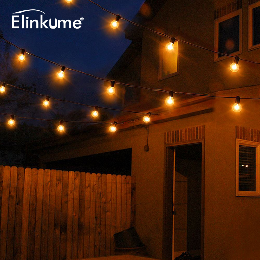 Elinkume 25LED String Lights 5M Tungste Glass Bulb Garden Lights Tail Power Supply Operated Wedding Christmas Outdoor Decor Lamp
