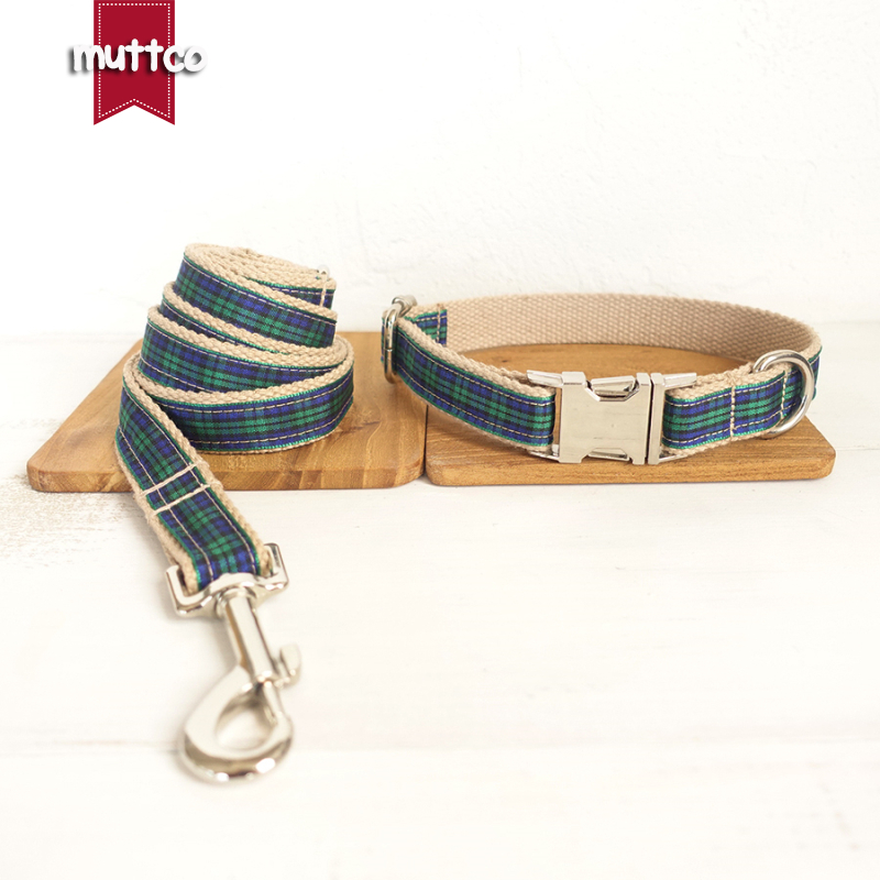 MUTTCO retailing self-design unique style accessory THE FOREST PLAID cotton beefy dog collars and leashes set 5 sizes UDC014
