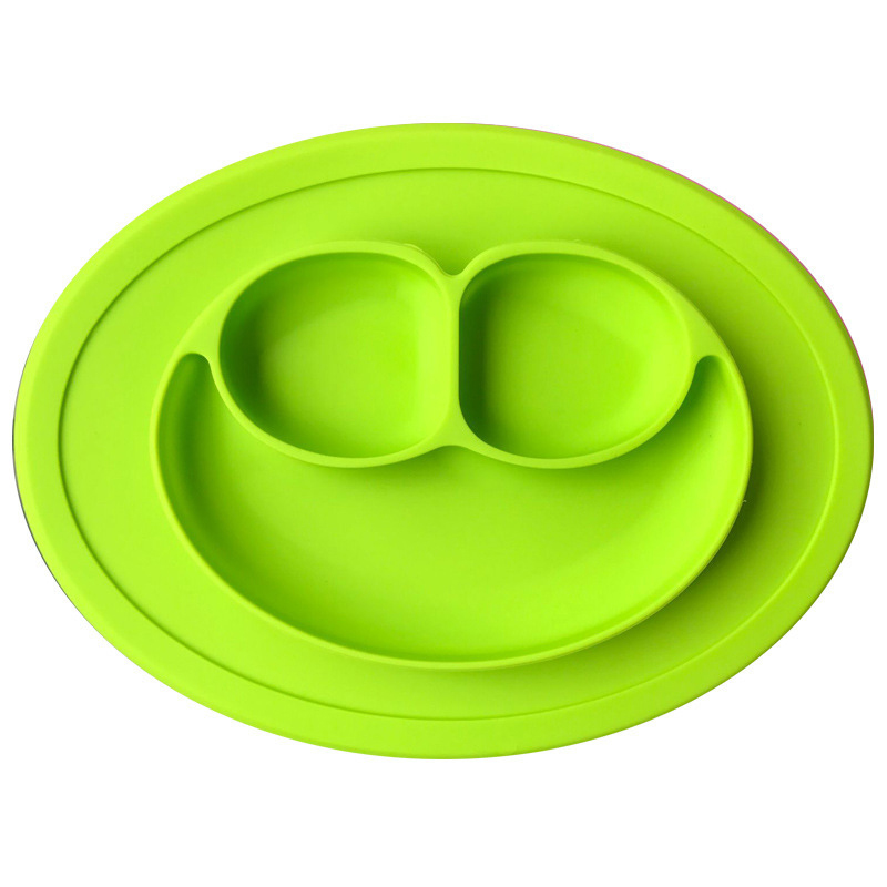 Table Mat Baby Silicone Plate Mat Silicone Suction Tray Non-slip Mini Mat Children Kids Meal Fruits Tray Toddler Green Placemat