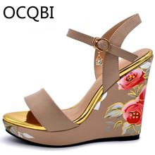 Classic Floral Wedge Sandals Summer Parties Shoes Elevated Open Toe Party