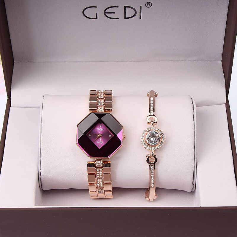 89376af7f86 2PC Set Famous Brand Luxury Watch Women Fashion Rose Bracelet Watch Set  Dress Jewelry Clock Ladies
