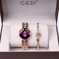 2PC Set Famous Brand Luxury Watch Women Fashion Rose Bracelet Watch Set Dress Jewelry Clock Ladies