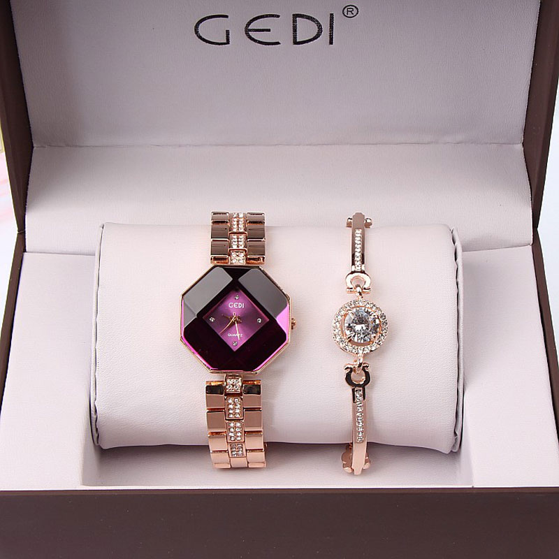 Marca de Luxo Relógio de Forma para Mulheres Relógio de Pulso Grupo Famosa Subiu Conjunto Pulseira Relógio Jóias Vestido Ladies Casual Quartz 2 pc