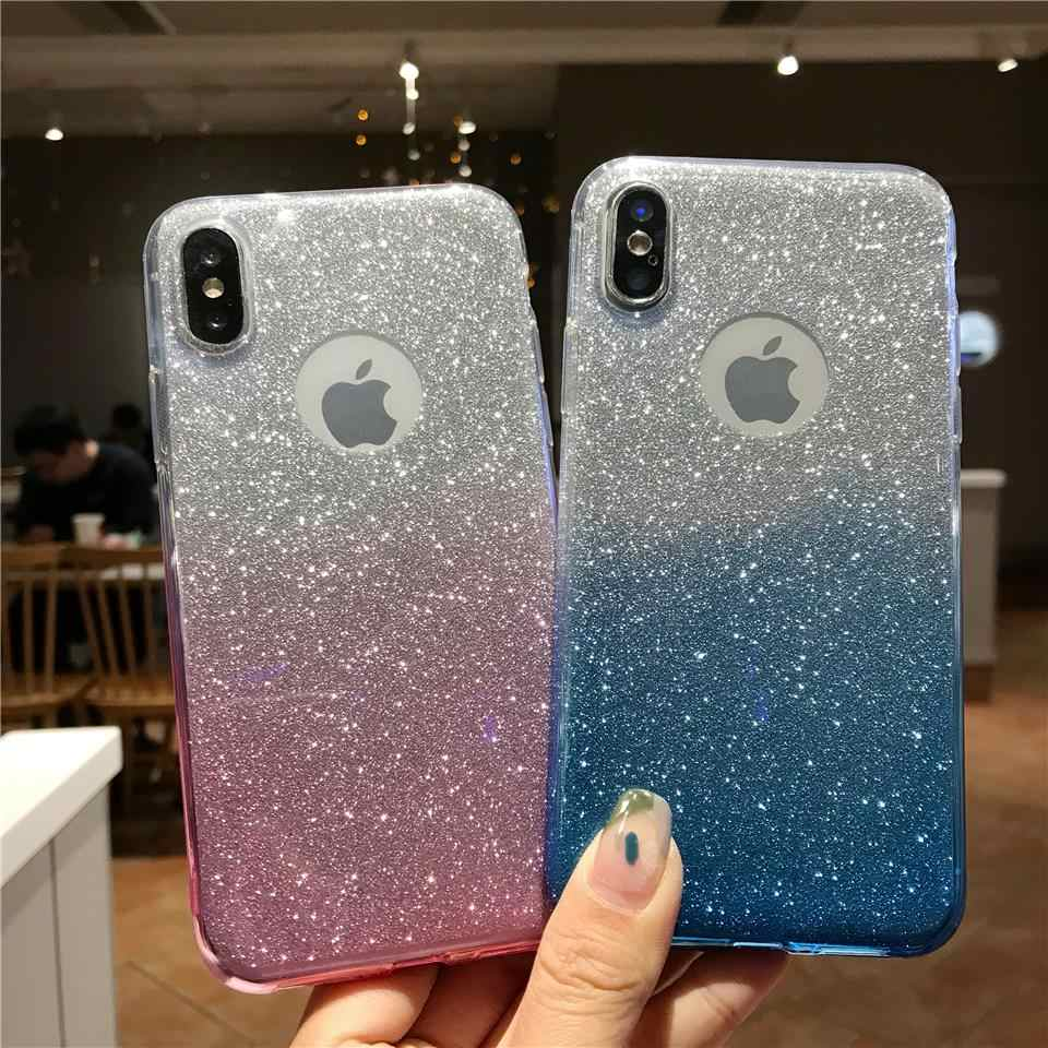 Glitter Texture Gradient Case For iphone X Shining Cover XR XS MAX 6s 7 8 Plus Huawei P20 Lite P30 Mate 20 10 Honor 9 8X 7X 7A