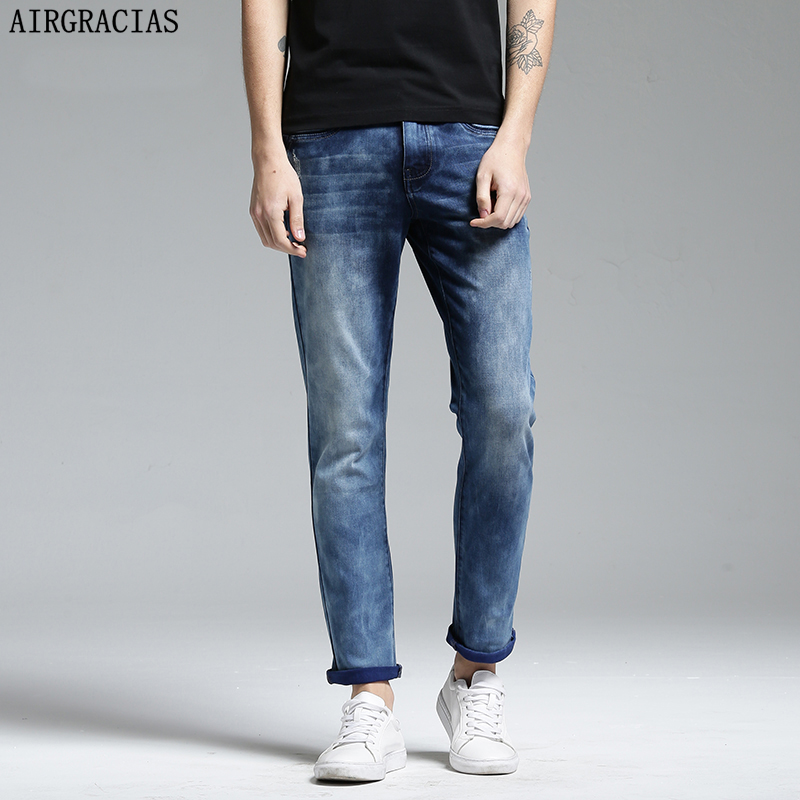 AIRGRACIAS Jeans Men Slim Fit Ankle-Leng Pants For Men Brand Designer Jean Good Denim Good Elasticity Cotton Washed Trousers airgracias elasticity jeans men high quality brand denim cotton biker jean regular fit pants trousers size 28 42 black blue