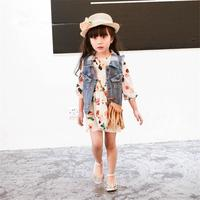 Çocuklar Kızlar Için Elbiseler Yeni Promosyon Diz boyu A-line Dökümlü 2016 İlkbahar Ve Yaz Kızlar Çiçek Baskılı Uzun-kollu Elbise