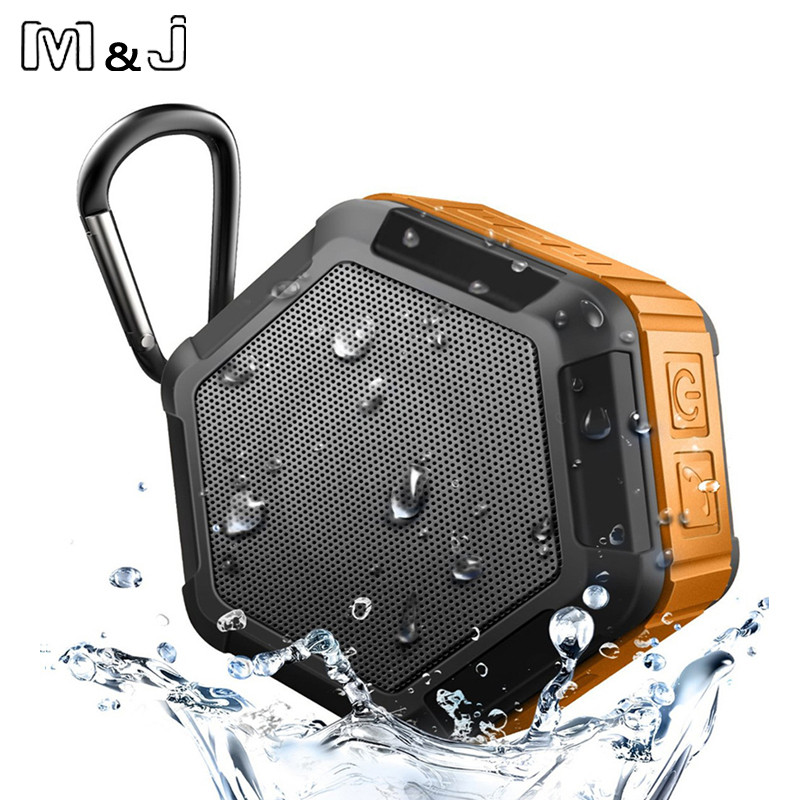 m&j ip67 waterproof mini bluetooth speaker with powerful sub woofer for outdoors