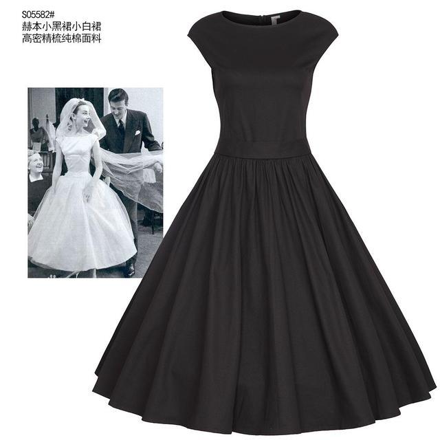 Audrey Hepburn 50s 60s retro elegant dress summer style vintage black  bandage dresses plus size 4XL rockabilly Vestido Femininos