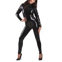 Классический латексный облегающий костюм черный латексный комбинезон с молнией сзади