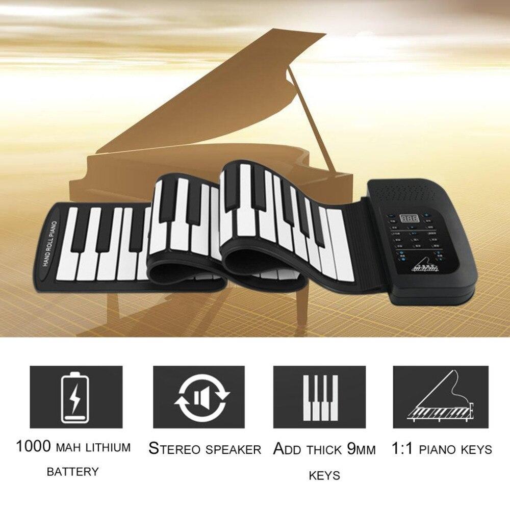TSAI Portable Flexible Roll Up Piano Électronique 61 Clés USB Rechargeable Numérique Clavier avec 128 Tons Haut-Parleur Intégré