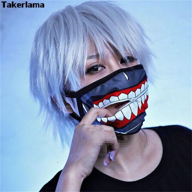 Takerlama Kaneki Ken máscaras faciales cremallera ciclismo antipolvo Anime  Tokyo Ghoul Cosplay máscara 45562d6f9e64