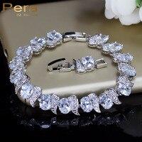 Luxury 925 Sterling Silver Bridal Wedding Party Jewelry Super White Cubic Zirconia Diamond Chain Link Bracelet