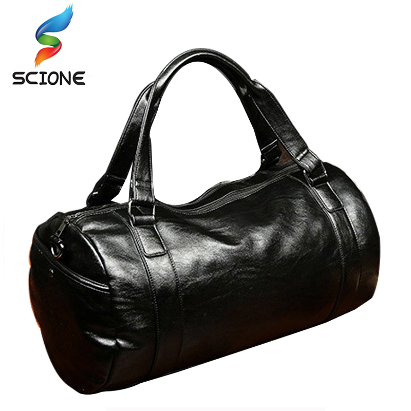 A++Quality Men Classic Soft Leather Fitness Gym Bag Black Brown Cylindrical Leather Duffel Bag Shoulder Travel & Sports Bag
