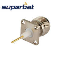 Superbat 10pcs Free Shipping RF Connector N 4 Hole Panel Mount Jack Female with Solder Post with 8mm Extended