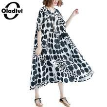 e741b2880d581d Oladivi Marque Vêtements grande taille Femmes De Mode D'impression Coton  robe de lin Dame Lâche décontracté Robes D'été Longue T..