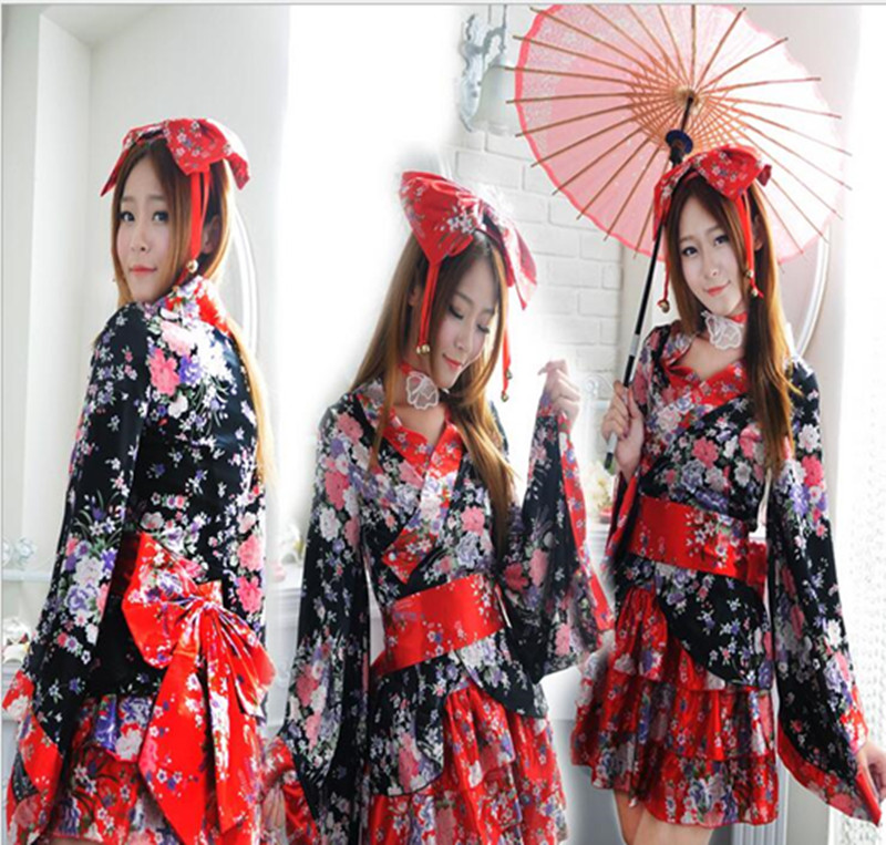 Fashion Woman Cosplay Lolita Kimono Dress Girls Flower Rose Skirt