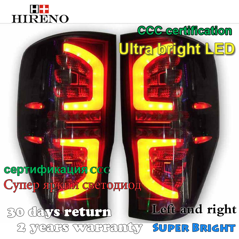 Hireno Tail Lamp for Ford RANGER 2015-2016 Taillight Rear Lamp Parking Brake Turn Signal Lights led hireno tail lamp for toyota land cruiser lc70 fj77 78 79 rj77 1991 1996 taillight rear lamp parking brake turn signal