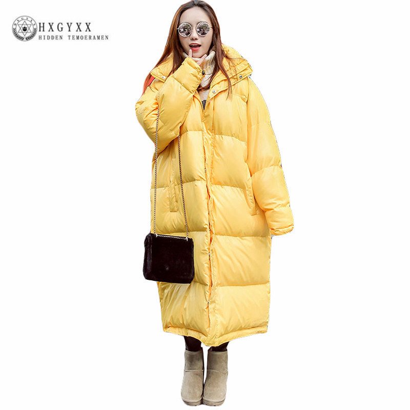 2018 Ultra Plus Size X-Long Loose Winter Jacket Women Coat Thick Down Cotton   Parka   yellow Warm Hooded Overcoat Female Okd257