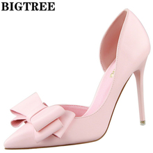 bigtree elegant d'orsay high heel shoes slip on party shoes 10.5cm thin heels with bowtie fashion point toe women pumps ds3168-2