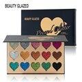 BEAUTY GLAZED 15 Colors Heartshape Glitter Cosmetics Glitter Powder Golden Shimmer and Shine Sequins Eyeshadow Pallete