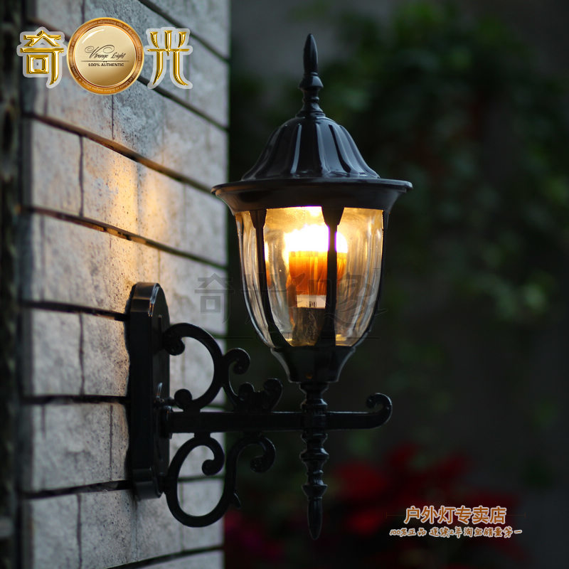 ФОТО warm white outdoor wall lamp mount balcony led porch light vintage Europe style waterproof led garden lights black/bronze