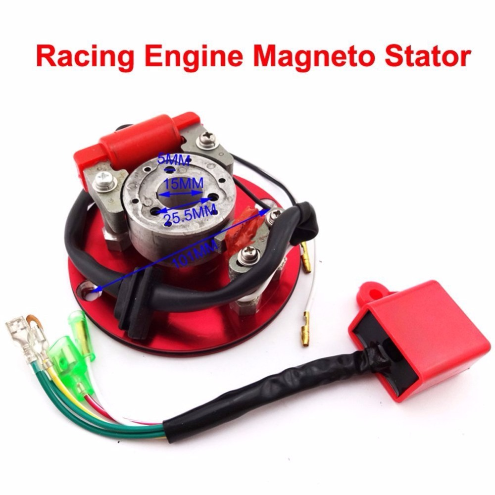 MYMotor Racing Magneto Stator Red Rotor Ignition CDI Box Kit For <font><b>110cc</b></font> 125cc 140cc Engine Chinese <font><b>Lifan</b></font> YX Pit Dirt Bike Motorcy image