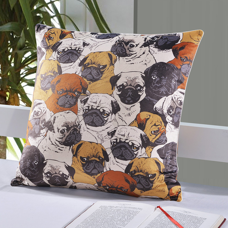 square digital printing cushion cover soft velvet health environmental protection cartoon pattern comfortable pug dog pillowcase
