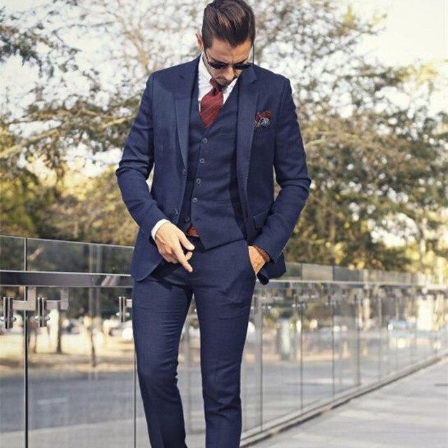 Beau bleu Marine (Veste + Pantalon + gilet) hommes d affaires Costumes 3 213cbd60270