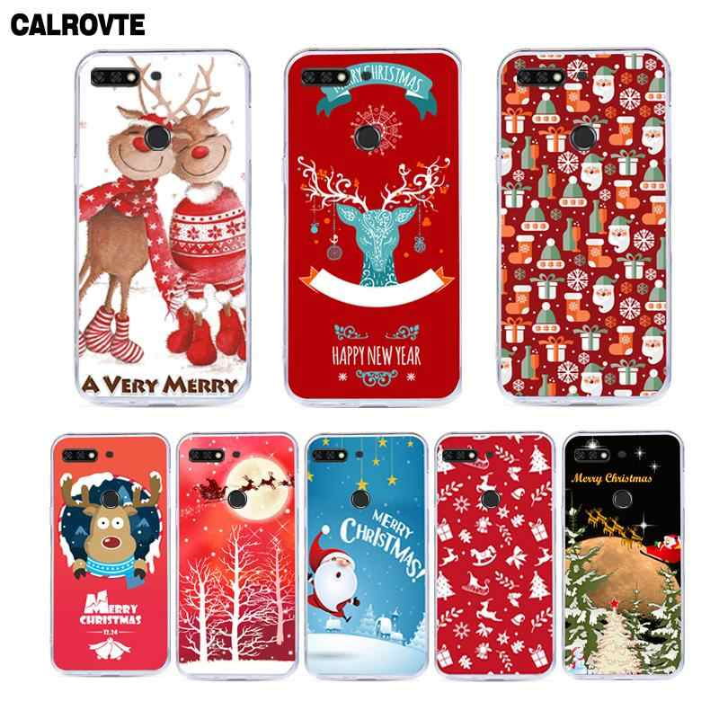 "Russia Version For Huawei Honor 7C Case Cover 5.7"" Soft Silicone Honor 7C Protective Cases for Huawei Honor 7C AUM-L41 Christmas"