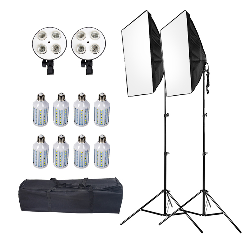 ASHANKS Led caja suave con soporte de luz Softbox de estudio fotográfico. Fotografía de caja de iluminación DSLR Fotografia E27 Blubs lámparas
