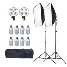 Ashanks led caixa macia com suporte de luz conjunto softbox para fotografia de estúdio de fotografia caixa de iluminação para dslr fotografia e27 blubs lâmpadas