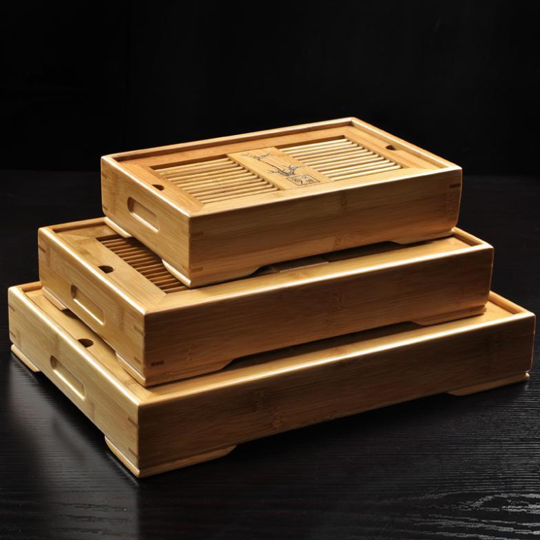 Kung fu plateau à thé stockage de l'eau tiroir type drainage bambou plateau à thé taille moyenne 34.5*22.5*6.5 cm teaset