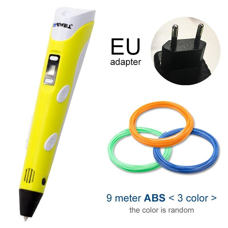 Myriwell, 3D ручка, светодиодный экран, сделай сам, 3D Ручка для печати, 100 м, ABS нити, креативная игрушка, подарок для детей, дизайнерский рисунок - Цвет: Yellow EU