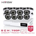 H.View 8CH CCTV System 720P HDMI AHD 8CH CCTV DVR 8PCS 1.0 MP IR Security Camera CCTV Camera Surveillance System No HDD